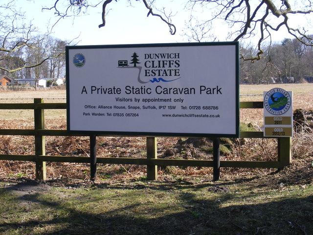 Dunwich Cliffs Estate Caravan Park sign