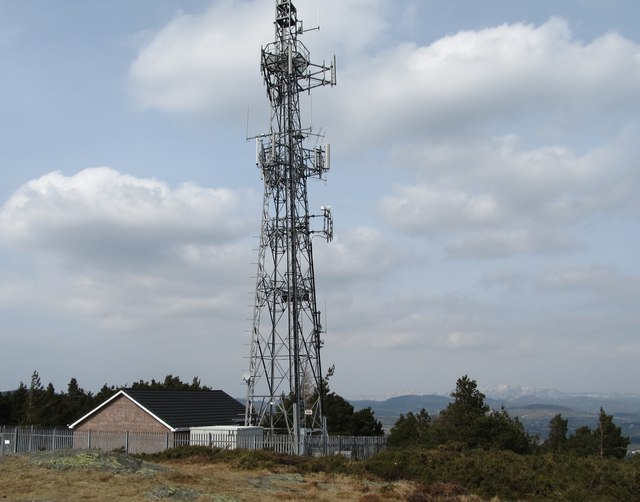 Radio and television transmitter on the summit of Drinnahilly