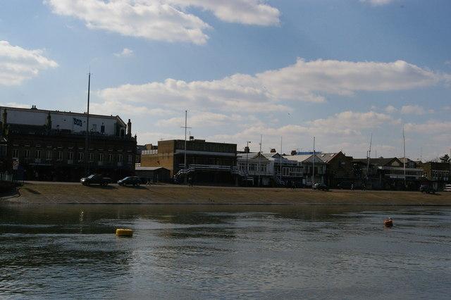 Rowing club boathouses and slipway, Putney