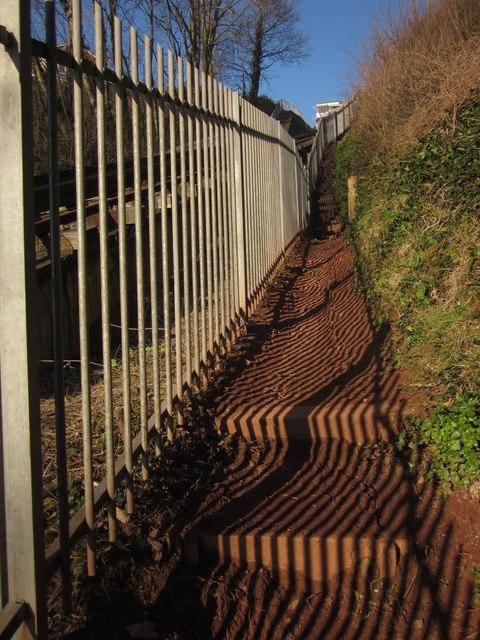 Coast path by cliff railway