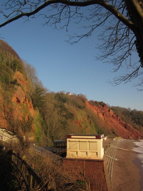 Oddicombe: the lower cliff railway station