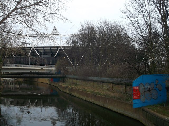 River Lea towards the Olympic Stadium