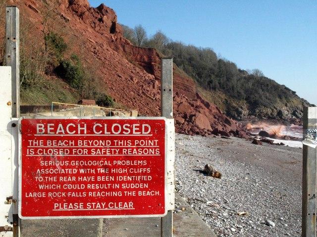 Beach closed, Oddicombe