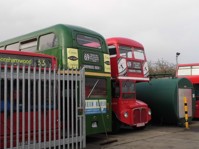 Routemaster buses in garage in Water End