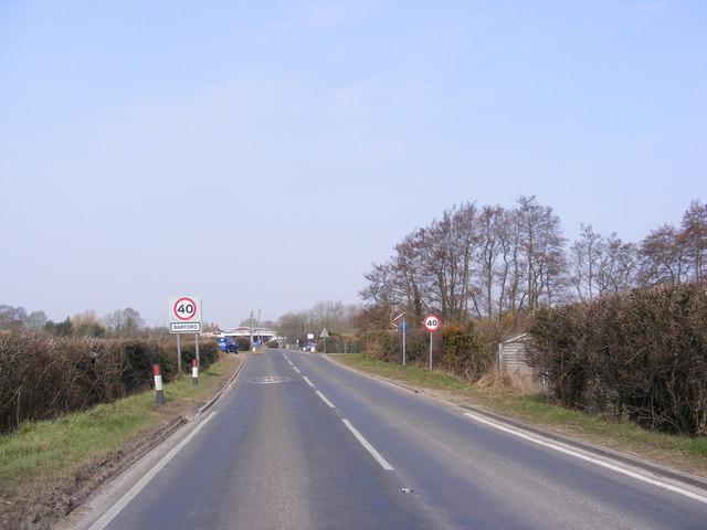 Entering Barford on the B1108 Watton Road
