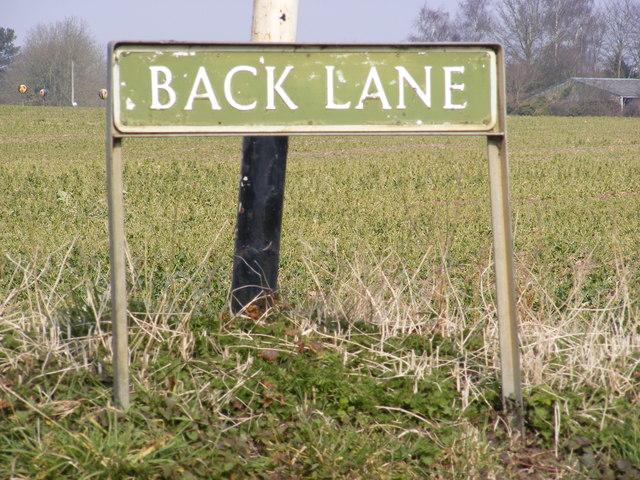 Back Lane sign