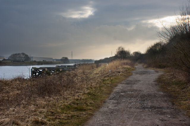 The track alongside the Manchester Ship Canal