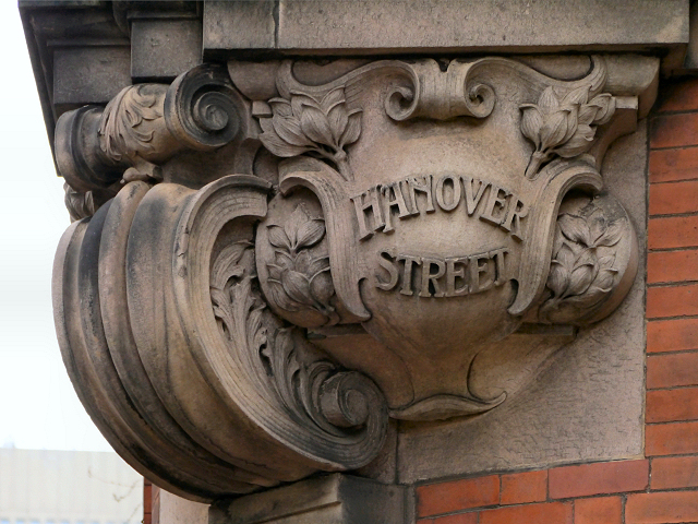 Ornate Street Sign on the Hanover Building