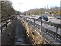 TQ2373 : Ramp and stairs beside the A3 Kingston Road by David Anstiss