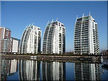 SJ8097 : Flats at Huron Basin, Salford Quays by Christine Johnstone