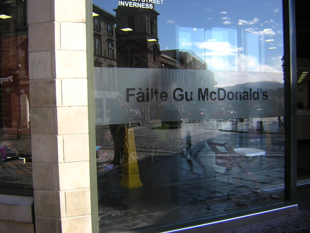 Gaelic greeting, McDonald's fast food restaurant, Inverness