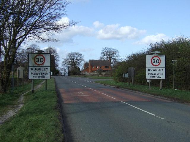 Entering Rugeley on Hednesford Road (A460)