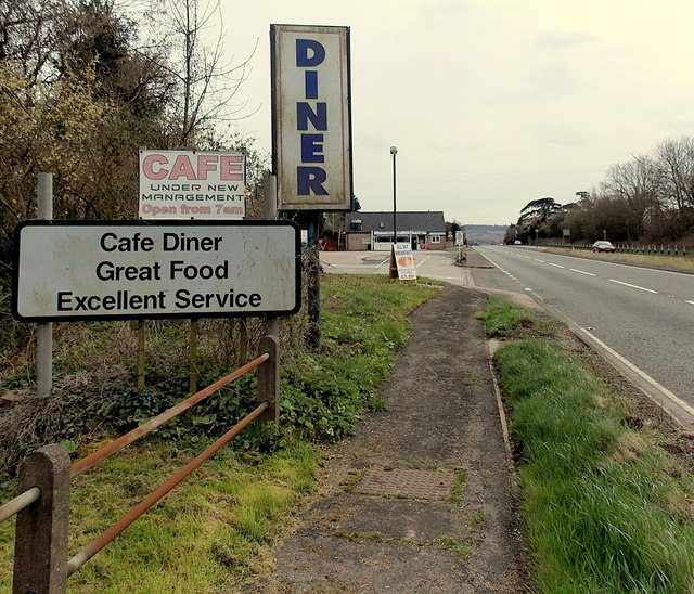 Roadside advertising for a diner, Pencraig