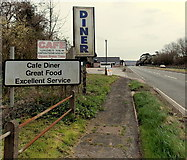 SO5620 : Roadside advertising for a diner, Pencraig by Jaggery