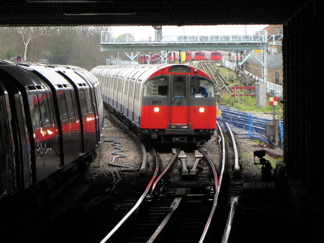 London Underground train approaching Acton Town