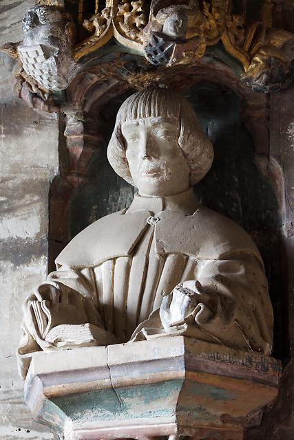 St Bartholomew's church, Tong - memorial bust of Sir Arthur Vernon (detail)