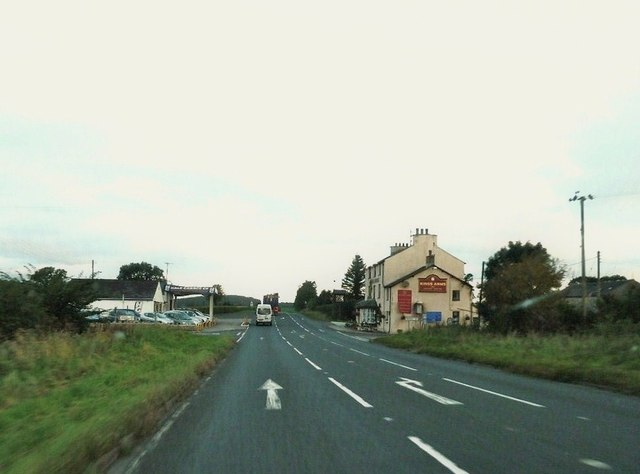 Passing the Kings Arms on the A6