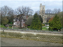TQ2475 : Pryor's Bank in Bishop's Park and All Saints Church by Marathon