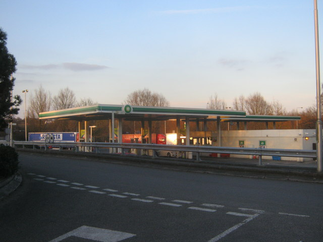 BP filling station at Leicester Markfield Services