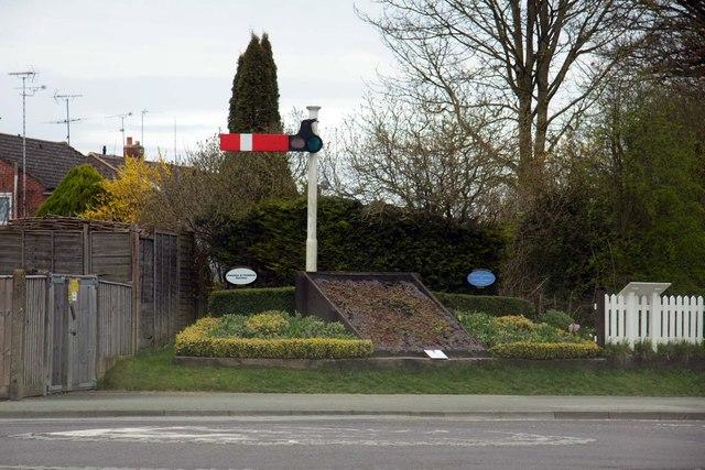 Railway themed flowerbeds