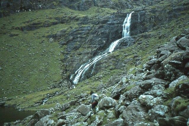 Waterfall below Lough Nalacken, Brandon
