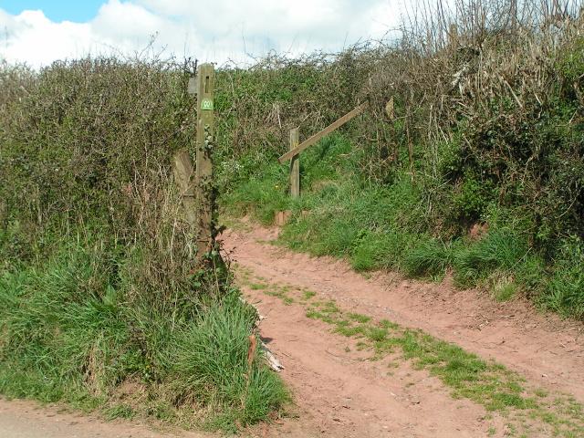 Two Moors way footpath leaving the lane