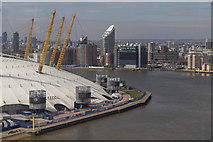 TQ3980 : O2 Centre from the Emirates Cable Car across the River Thames by Christine Matthews