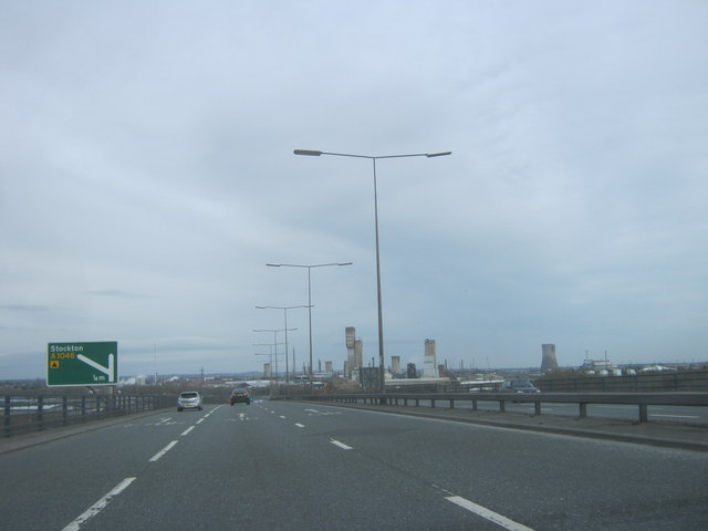 The A19 northbound crossing the River Tees