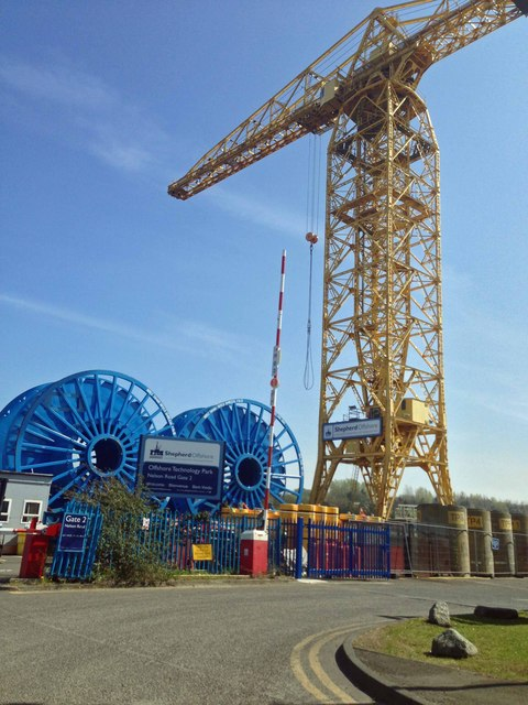 Crane at the Offshore Technology park on the North bank of the River Tyne