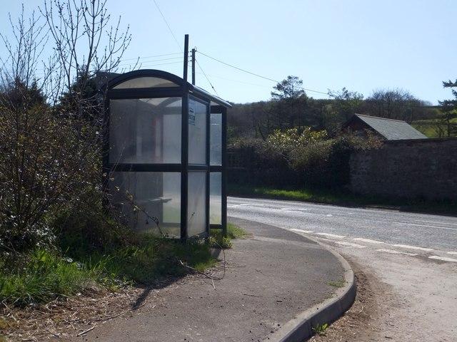 Bus shelter at Heddon Mills