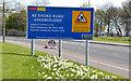 J3683 : Road construction contract sign, Whiteabbey/Jordanstown (2013) by Albert Bridge