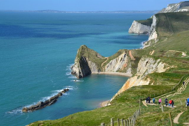 Durdle Door and walkers on the SWC Path