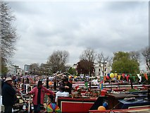 TQ2681 : View of narrowboats moored up at Little Venice for the Canal Cavalcade by Robert Lamb