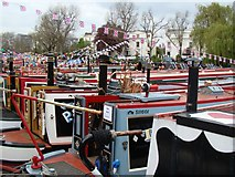 TQ2681 : View of narrowboats moored up at Little Venice for the Canal Cavalcade #2 by Robert Lamb