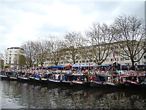 TQ2681 : View of narrowboats moored up at Little Venice for the Canal Cavalcade #6 by Robert Lamb