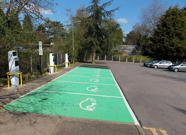 Electric vehicle charging bays, Great Malvern