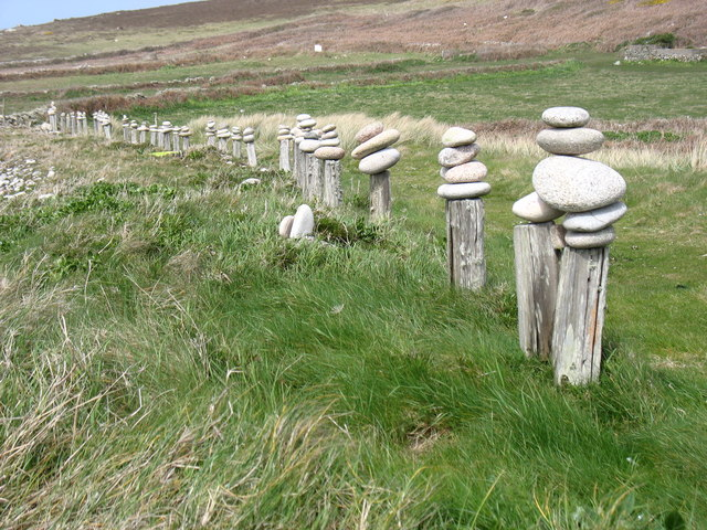 Posts and stones by the Bryher coast path!