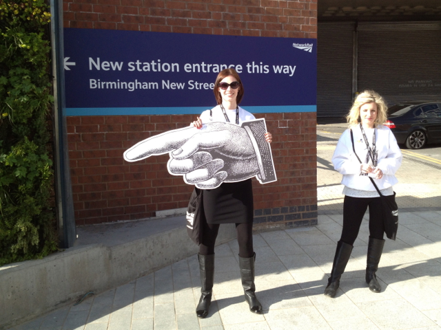Pointing the way to the new New Street station entrance