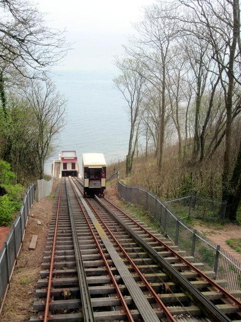 Funicular railway down to Oddicombe beach