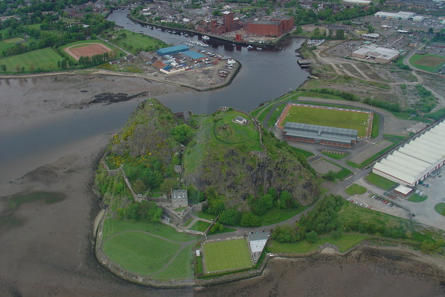 Dumbarton Rock and Castle from the air