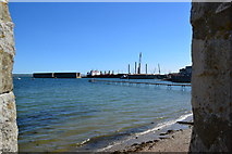 SY6874 : Piers in Portland Harbour by Peter Barr