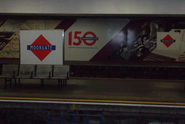 Moorgate station: replica Metropolitan Railway sign