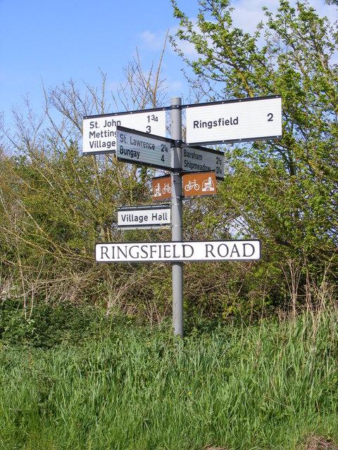 Roadsign on Ringsfield Road