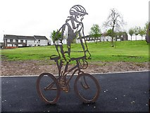 H4473 : Cyclist sculpture, Strathroy by Kenneth  Allen