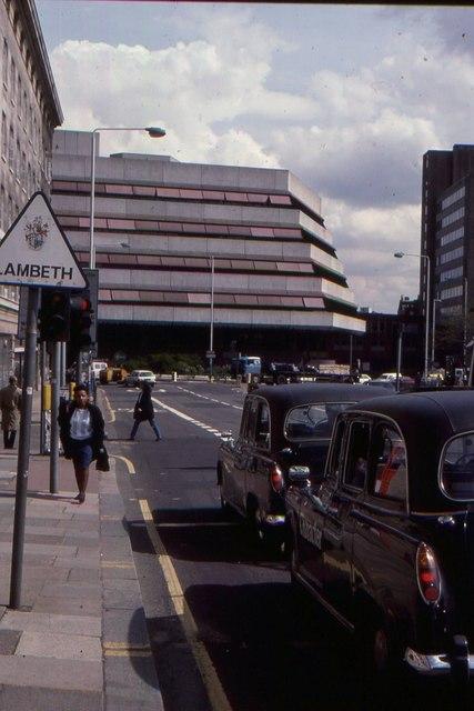 County Hall: Island Block from Westminster Bridge, 1989