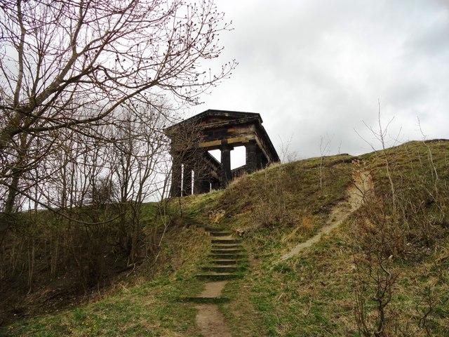 Steps up Penshaw Hill
