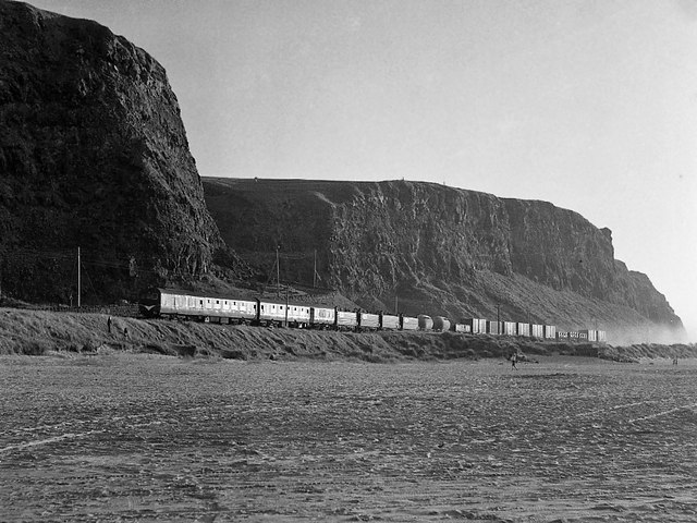 Freight train at Downhill - 1977