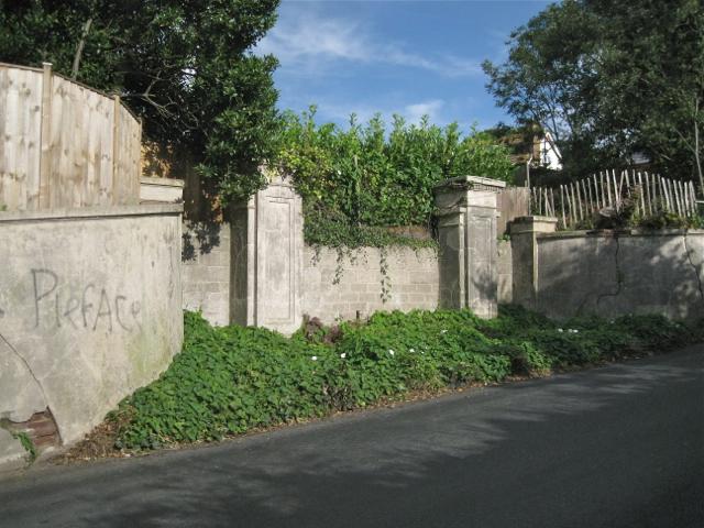 Gate pillars and blocked entrance, Dawlish Road, Teignmouth