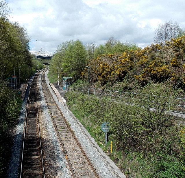 A view north from Angel Lane railway bridge, Gilfach