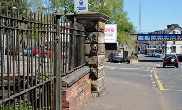 Old railway fence and gate pillar, Ballymena